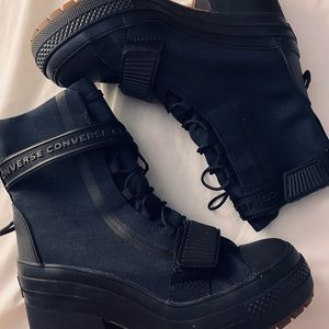 Converse lace high top combat boots